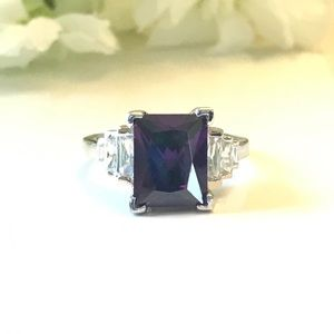 Rectangle Amethyst CZ Sterling Ring
